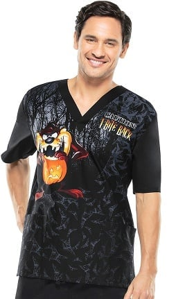 Tooniforms by Cherokee Unisex V-Neck Halloween Print Scrub Top
