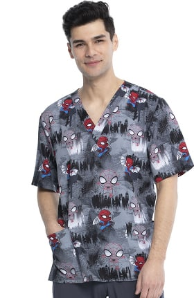 Tooniforms by Cherokee Unisex Night Watch Print Scrub Top