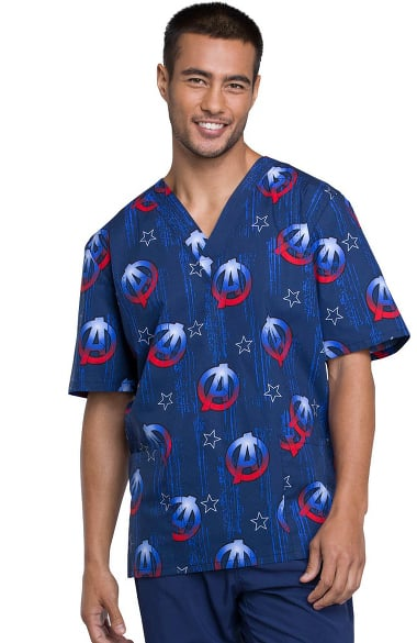 3283be7af07 Tooniforms by Cherokee Unisex V-Neck Avengers Print Scrub Top ...