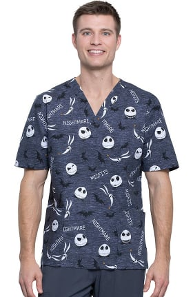 Tooniforms by Cherokee Unisex V-Neck Nightmare Misfits Print Scrub Top