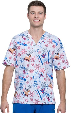 Clearance Tooniforms by Cherokee Unisex V-Neck Bumble Rumble Print Scrub Top