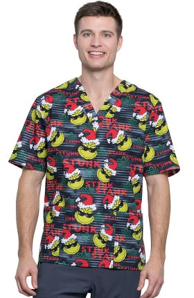 Clearance Tooniforms by Cherokee Unisex V-Neck Stink Stank Print Scrub Top