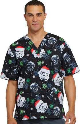 Clearance Tooniforms by Cherokee Unisex V-Neck Star Wars Print Scrub Top