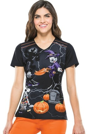 Tooniforms by Cherokee Women's V-Neck Mickey Halloween Print Scrub Top