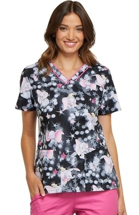 Tooniforms by Cherokee Women's V-Neck Dumbo Print Scrub Top