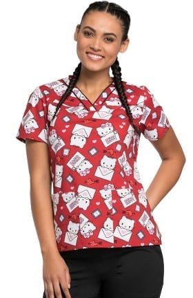 Clearance Tooniforms by Cherokee Women's V-Neck Hello Kitty Print Scrub Top