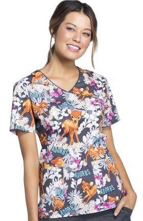 Tooniforms by Cherokee Women's Mock Wrap Bambi Print Scrub Top