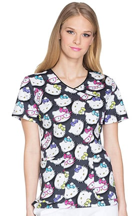 Tooniforms by Cherokee Women's Mock Wrap Hello Kitty Print Scrub Top