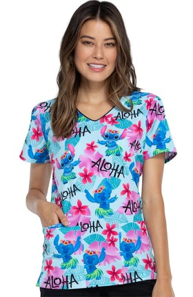 Tooniforms by Cherokee Women's Aloha Stitch Print Scrub Top