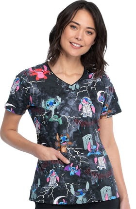 Tooniforms by Cherokee Women's Spooky Stitch Print Scrub Top