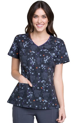 Tooniforms by Cherokee Women's V-Neck Black Panther Print Scrub Top