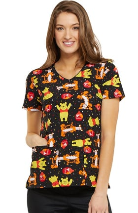 Clearance Tooniforms by Cherokee Women's V-Neck Winnie the Pooh Print Scrub Top