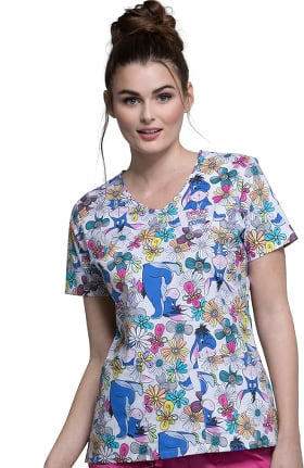 Tooniforms by Cherokee Women's V-Neck Winnie the Pooh Print Scrub Top