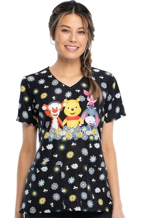 Tooniforms by Cherokee Women's Sunshine Pooh Print Scrub Top