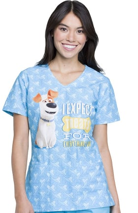 Tooniforms by Cherokee Women's V-Neck Secret Life of Pets Print Scrub Top