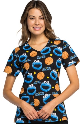 Tooniforms by Cherokee Women's V-Neck Cookie Monster Print Scrub Top