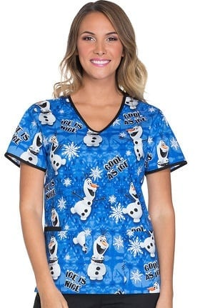 Tooniforms by Cherokee Women's V-Neck Olaf Print Scrub Top
