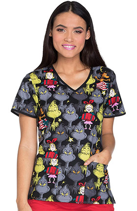 Tooniforms by Cherokee Women's V-Neck Grinch Who Stole Christmas Print Scrub Top