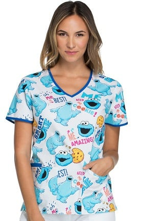 Clearance Tooniforms by Cherokee Women's V-Neck Cookie Monster Print Scrub Top