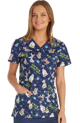 Clearance Tooniforms by Cherokee Women's Mock Wrap Dr. Seuss Print Scrub Top