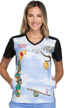 Clearance Tooniforms by Cherokee Women's V-Neck Knit Panel Winnie the Pooh Print Scrub Top