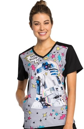 Clearance Tooniforms by Cherokee Women's V-Neck Knit Panel Star Wars Print Scrub Top