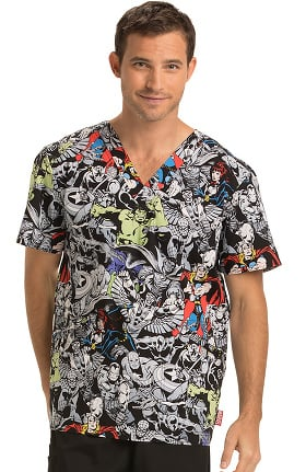 Tooniforms by Cherokee Men's V-Neck Marvel Heroes Print Scrub Top