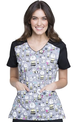 Tooniforms by Cherokee Women's V-Neck Charlie Brown Print Scrub Top
