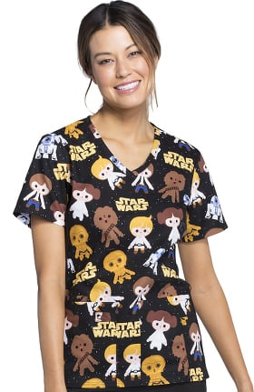 Tooniforms by Cherokee Women's V-Neck Star Wars Print Scrub Top