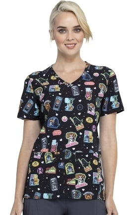 Tooniforms by Cherokee Women's Rule The Galaxy Print Scrub Top