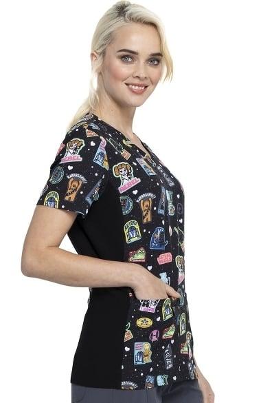 Tooniforms Women/'s Short Sleeve Classic Fit V Neck Knit Panel Scrub Top TF625