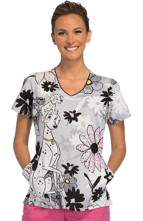 Tooniforms by Cherokee Women's V-Neck 101 Dalmatians Print Scrub Top