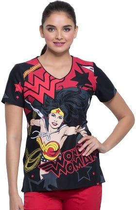Tooniforms by Cherokee Women's V-Neck Wonder Woman Power Print Scrub Top