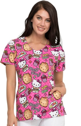 Tooniforms by Cherokee Women's Kawaii Burger Print Scrub Top