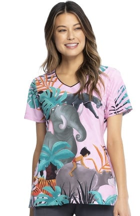 Tooniforms by Cherokee Women's Mowgli And Friends Print Scrub Top