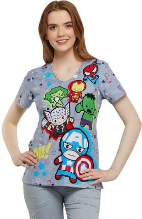 Tooniforms by Cherokee Women's V-Neck Marvel Print Scrub Top