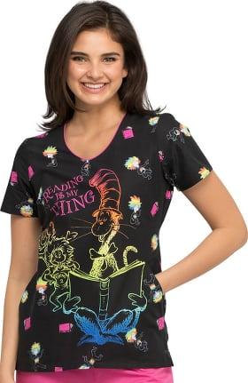 Tooniforms by Cherokee Women's Reading Is My Thing Print Scrub Top