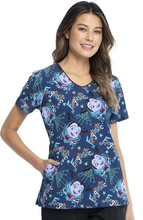 Tooniforms by Cherokee Women's Vampirina Print Scrub Top