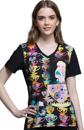 Tooniforms by Cherokee Women's V-Neck Alice in Wonderland Print Scrub Top