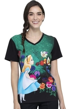 Clearance Tooniforms by Cherokee Women's Wonderland Alice Print Scrub Top