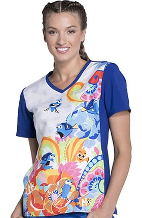 Clearance Tooniforms by Cherokee Women's V-Neck Knit Panel Finding Dory Print Scrub Top