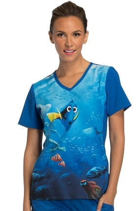 Tooniforms by Cherokee Women's V-Neck Knit Panel Finding Dory Print Scrub Top