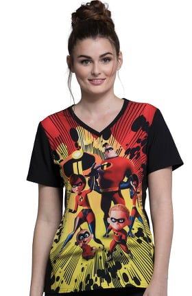Tooniforms by Cherokee Women's V-Neck The Incredibles Print Scrub Top