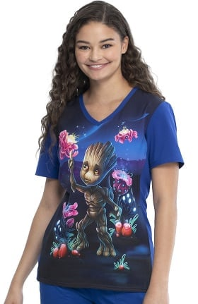 Tooniforms by Cherokee Women's Groot Print Scrub Top