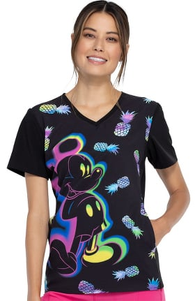 Tooniforms by Cherokee Women's Mickey Pineapple Print Scrub Top