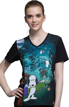 Tooniforms by Cherokee Women's V-Neck Snoopy Print Scrub Top