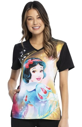 Tooniforms by Cherokee Women's Snow White Magic Print Scrub Top