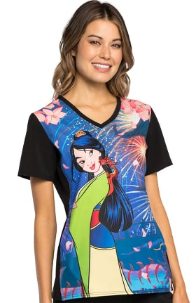 Tooniforms by Cherokee Women's V-Neck Mulan Print Scrub Top