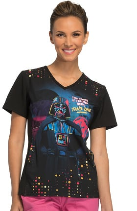 Tooniforms by Cherokee Women's V-Neck Knit Pane Star Wars Print Scrub Top