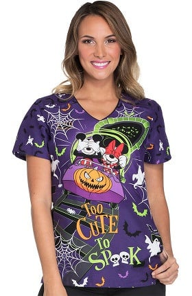 Tooniforms by Cherokee Women's V-Neck Mickey Mouse Halloween Print Scrub Top